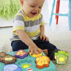 Big, chunky puzzle pieces are easy for baby to grasp & fit together!