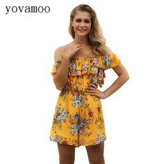 02d3bd6cc90 Summer Floral Print Elastic Waist Short Chiffon Jumpsuit Women Ruffle Off  Shoulder Holiday Beach Sexy Strapless