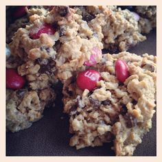 """one pinner states: """"Healthy-ish"""" Monster Cookie Recipe   No white sugar, flour or oil but good stuff like oatmeal, peanut butter and even flax seed! They are YUMMY!"""