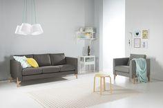 Nemo sofa with oak legs.