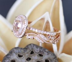 A lovely natural Morganite Ring Set in your choice of 14K White, Yellow or Rose Gold. The engagement ring Set has a natural 7*9MM Oval Cut Morganite Ring Stack With Antique Full Eternity Wedding Ring. More Beauty in person.  Link Of Morganite Ring: https://www.etsy.com/listing/285484471/stackable-morganite-engagement-ring79mm  >>>>>>>>>>>>>>>INFORMATION<<<<<<<<<<<<<<<<<<<<< These rings are made to order and will take approximately 3~4 WEEKS to complete. DETAILS:  Composition: 14K Rose Gold…