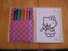 DIY coloring case to go made from an upcycled DVD case