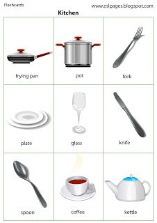 Esl Pages: Kitchen furniture vocabulary English Activities For Kids, Learning English For Kids, English Lessons For Kids, Kids English, English Sentences, English Idioms, English Phrases, English Writing, English Vocabulary List