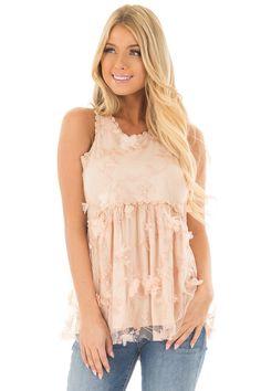 40499367d995c5 Lime Lush Boutique - Peach 3D Floral Print Sheer Lace Top