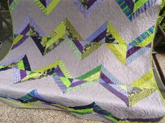 Purple Chevron Quilt    64 x 54 by Lovedquilts on Etsy, $75.00