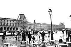 Paris Photography - Rain at the Louvre- Paris - France 8x10 Fine Art Photograph