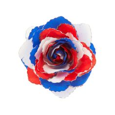 Patriotic Flower Hair Clip | Icing ($6.99) ❤ liked on Polyvore featuring accessories, hair accessories, barrette hair clip, flower hair clip, hair clip accessories and flower hair accessories