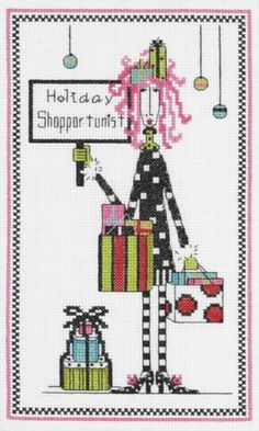 Janlynn Holiday Shopportunist Cross Stitch Kit Dolly Mamas