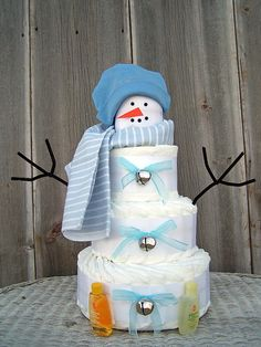 Snowman Themed Diaper Cake for Boys Winter by AllDiaperCakes