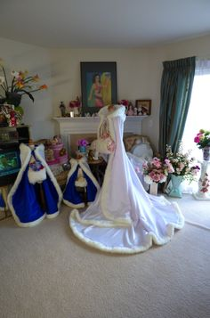 """RESERVED Custom listing for  """"giannabowler"""" Family Pack 3 Royal-Blue , White or Ivory Satin Bridal Capes Handmade in USA by capeandcrown13 on Etsy"""