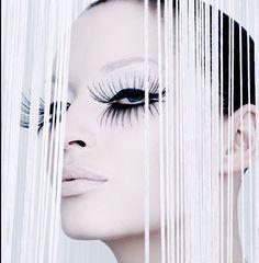 Over the top long black lashes - white makeup and lips Make-up makeup beauty Beauty Make-up, Beauty Shoot, Photographic Makeup, Big Lashes, Black Lashes, False Lashes, Portrait, High Fashion Makeup, White Makeup