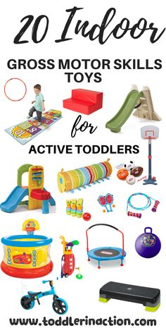 Looking for indoor gross motor skills toys for your active toddler? We've got you covered with this gift guide with 20 indoor gross motor skills toys. 3 Year Old Toys, 2 Year Old Gifts, One Year Old Gift Ideas, Physical Activities For Toddlers, Toddler Fine Motor Activities, Best Toddler Toys, Toddler Boy Gifts, Toys For 18month Old, 1st Birthday Boy Gifts