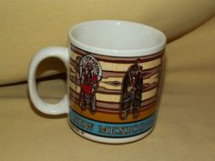 NEW MEXICO MUG LAND OF ENCHANTMENT INDIAN CLASSIC DIST 87 COFFEE TEA CUP 1987