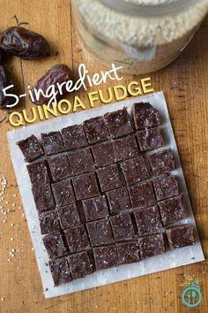 5-Ingredient Vegan Fudge Recipe using QUINOA - this fudge is gluten-free, dairy-free, nut-free & refined sugar-free too!   Simply Quinoa