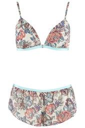Floral Chiffon Triangle Bra and Knickers