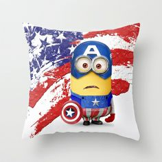 The Avengers Despicable me minion Captain America Throw Pillow by Pointsalestore - $20.00