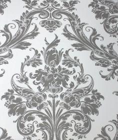 Damask Princess Ash Grey on White Kids Wallpaper | designyourwall.com