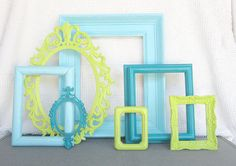 Lime Green Aqua Teal Turquoise Ornate Frames set of 7 Upcycled Painted Modern OPEN Frame set bedroom decor