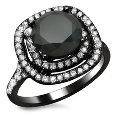18k Black Gold 2.50ct TDW Certified Double Halo Black and White Diamond Ring, $1795.00