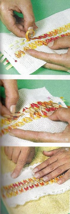 TOALLAS BORDADAS Como bordar toallas con cinta,amigas está es una bella técnica para decorar todo tipo de toallas ,para iniciar esta delicad...