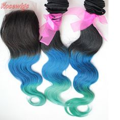 Unprocessed Virgin Brazilian Hair 6A Rosewigs Products Ombre virgin hair 1b/blue/green ,Two Tone Closure Body Wave