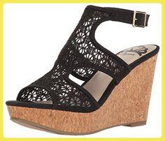 Fergalicious Kendra Damen US 9.5 Schwarz Keilabsätze Sandale - Sandalen für frauen (*Partner-Link)