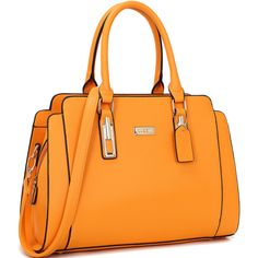 Women's Dasein Collection Satchel Handbag w/ 2 Free Phone Cases ($35) ❤ liked on Polyvore featuring bags, handbags, orange, satchel style handbag, handbag satchel, orange satchel, satchel style purse and hardware bag