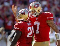 Two gaints in the sport of NFL 9ers football. Kaepernick and Gore.
