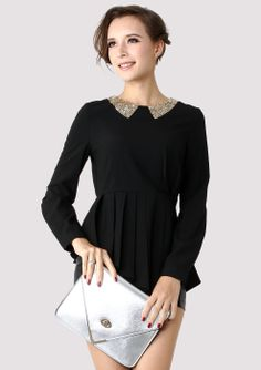 Black Sequins Collar Peplum Shirt