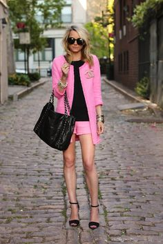 pink lady in the summer suit