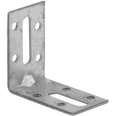 Galvanised 90 degree connector with two slots and multi-hole pattern for easy adjustment. Length x length x width.