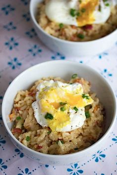 breakfast risotto with bacon and poached egg. (note- maybe I can leave out the bacon and use vegetable stock instead of chicken?)