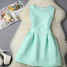 62dc736cc Stylish Lady Women s Fashion Casual Sleeveless High Waist A-line Mini Dress   6.44 Vestidos De