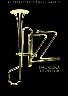 I like how the designer used the neck of the trumpet to spell out Jazz.  the simple contour and shading lines throughout the letters are really nice