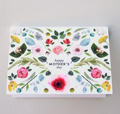 Mother's Day Scandinavian folk flowers card by HouseThatLarsBuilt, $4.75