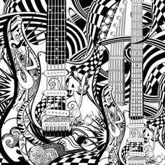 Adult Coloring Page, Printable Guitar Coloring Pages, Music Coloring Poster…
