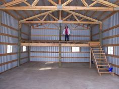 wood stove pole barn - perfect area in the loft to finish off for a place for kids to play.