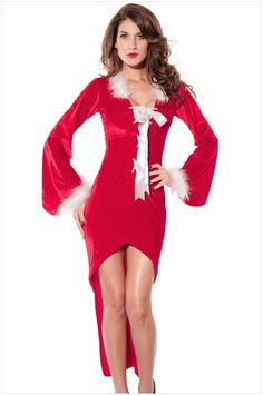 Red Plain Hollow-out Bow Christmas Dress 8c6a39a7b