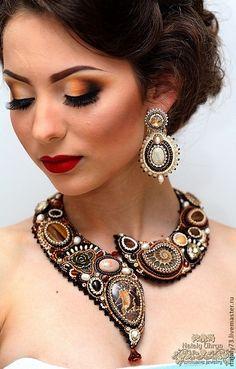 """Beaded necklace / Купить Колье """"Аромат кофе""""(3 варианта) - коричневый, кофейный, шоколадный цвет, капучино, колье с камнями"""