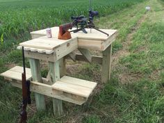 Too wet to farm so decided to build a shooting bench. Been paying attention to other benches I've used and had few ideas what I wanted. Outdoor Shooting Range, Shooting Table, Outdoor Range, Shooting Practice, Shooting Targets, Shooting Guns, Archery Targets, Ohio Hunting, Deer Hunting