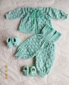 Beautiful patterned baby set with long legged onsie , beautiful sweater and booties Crochet Baby Sweaters, Baby Knitting, Dress With Cardigan, Baby Cardigan, Knitting Patterns, Crochet Patterns, Baby Set, Cardigan Pattern, Girl Photos