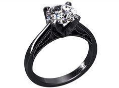 Natural Black Onyx Engagement Ring Fashion Ring by WinterFJ Black Gold Engagement Rings, Gothic Engagement Ring, Unusual Engagement Rings, Traditional Engagement Rings, Designer Engagement Rings, Diamond Wedding Rings, Wedding Band, Wedding Bells, Fashion Rings