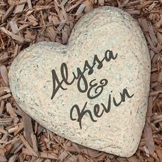 Couple's Personalized Heart Garden Stone with Engraved Names Concrete Stepping Stones, Garden Stepping Stones, Large Garden Stones, Personalized Garden Stones, Stone Heart, Garden Statues, Couple Gifts, The Ordinary, Customized Gifts