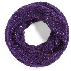 Collection XIIX Glitter Fleck Infinity Scarf ($32) ❤ liked on Polyvore featuring accessories, scarves, purple, round scarf, chunky knit circle scarf, chunky knit infinity scarves, loop scarves und purple shawl