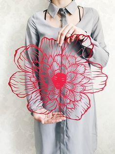 "Paper cut art work, paper art ""Flower"" original paper cutting in red color, art silhouette by Eugenia Zoloto , 2018"