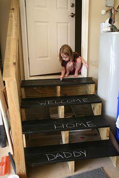 Chalkboard steps to the garage