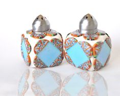 Turquoise and White Salt 'n Pepper Shakers, Polymer Clay via Etsy
