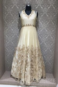 http://www.mangaldeep.co.in/gowns/breezy-offwhite-readymade-designer-partywear-gown-7963 Call us @+919377222211 (Whatsapp Available)