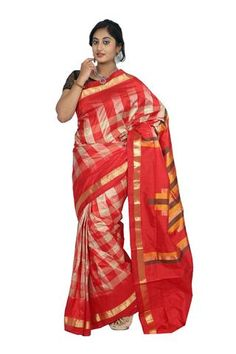 Red Checked Handloom Khadi Silk Saree