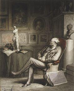 The Connoisseur 1860-65.  Honoré Daumier  (French, Marseilles 1808–1879 Valmondois)
